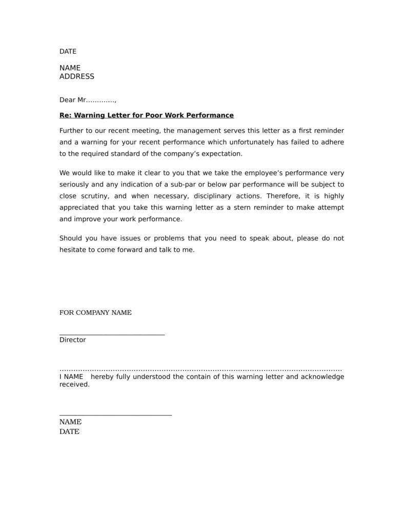 free warning letter for poor attendance word doc download 1 788x1020