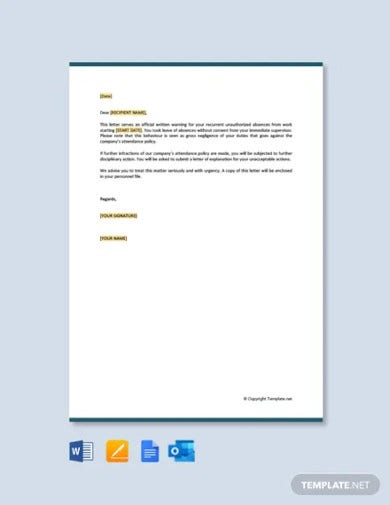 free warning letter to employee for attendance
