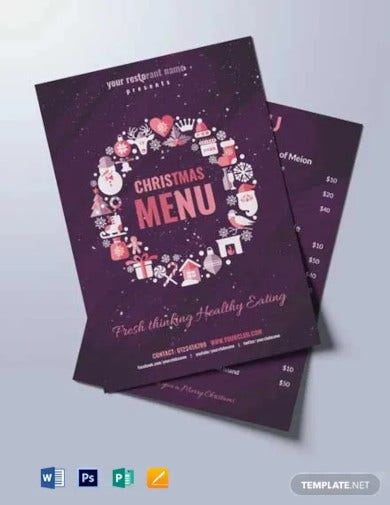 free watercolor christmas menu template