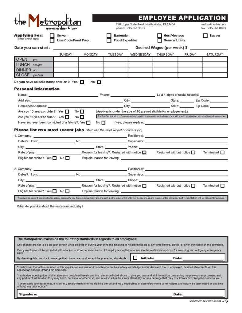 generic employee application template page 001 788x1020