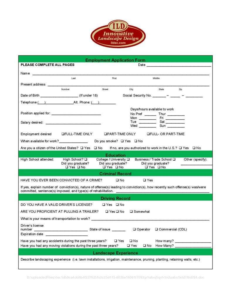 landscape employment application form page 001 788x1020