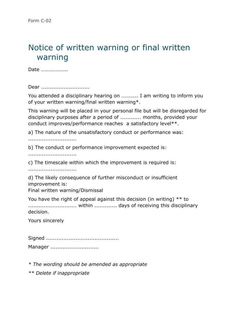 9 disciplinary warning letters free samples examples for Written notice letter template