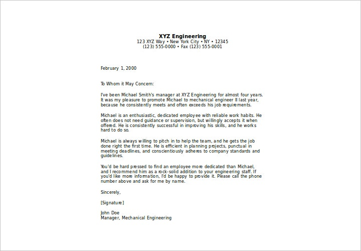 letter of recommendation for employee