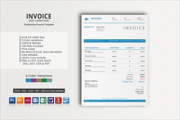 letterhead with invoice template in word format