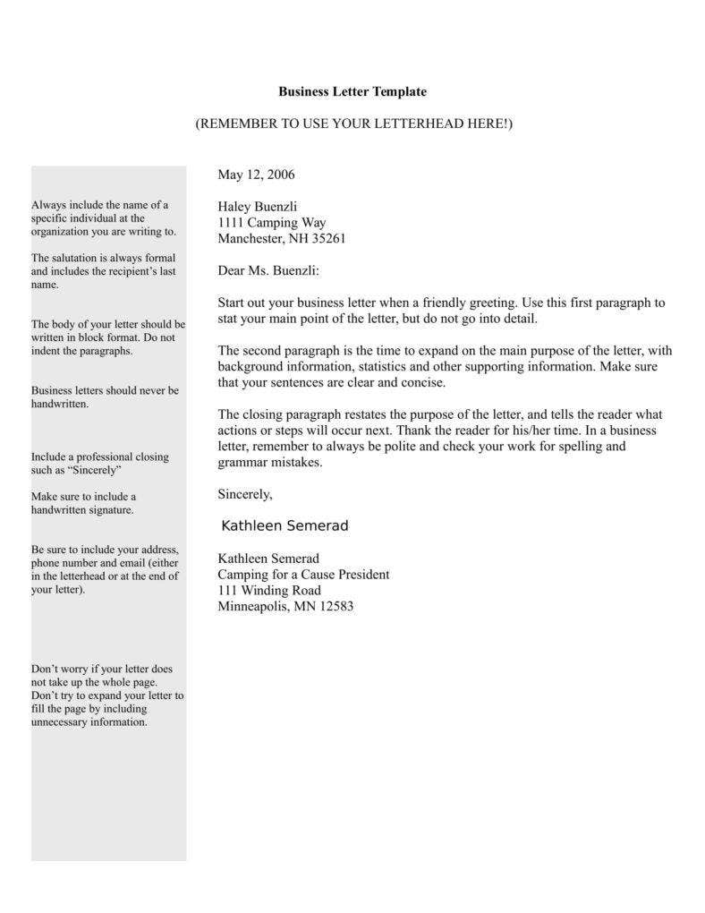 business letters templates free