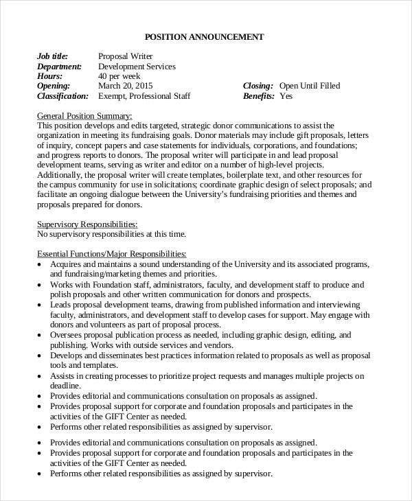 printable position announcement job proposal