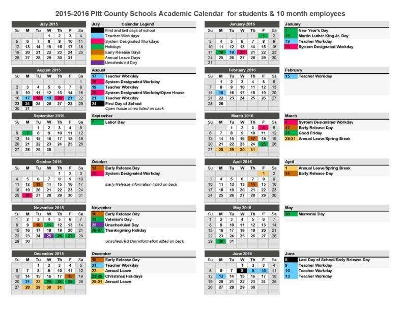 printable school event calendar template