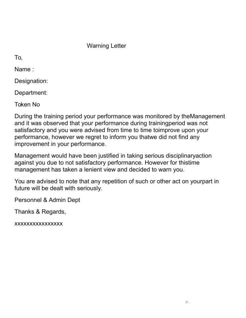 Attendance warning letter template for Letter of reprimand template