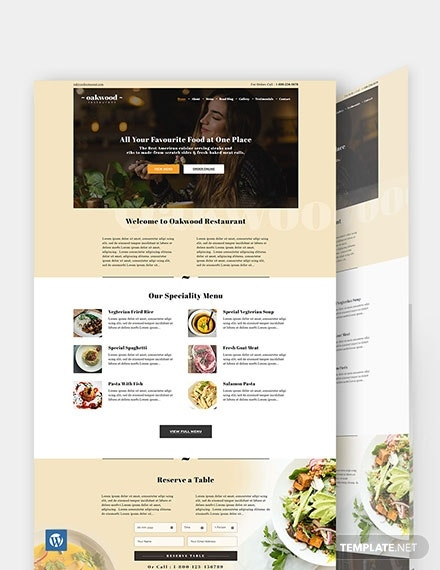 restaurant cafe wordpress themetemplate