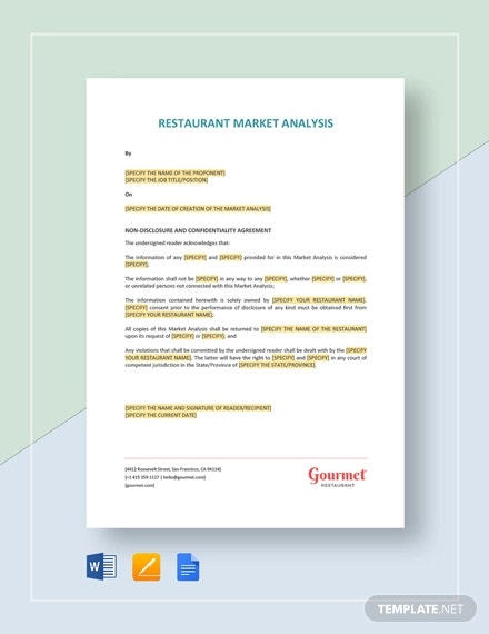 restaurant market analysis template