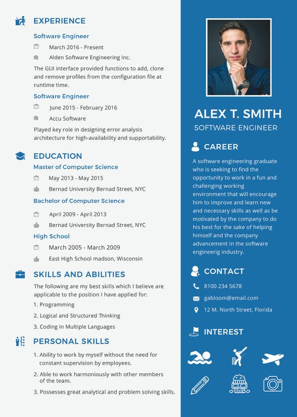 modern fresher resume for software engineer