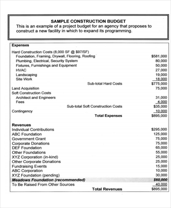 sample construction expense sheet