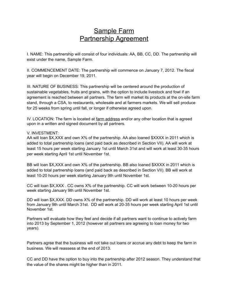 Partnership Agreement Template Free Download