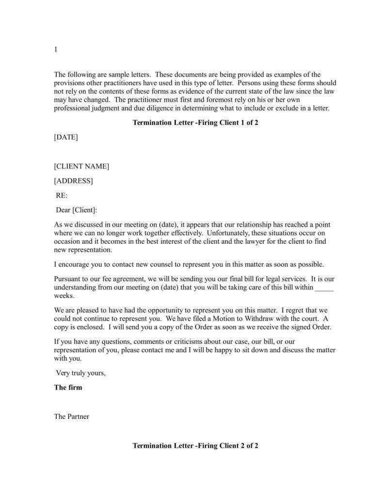 Attorney termination letter template download.