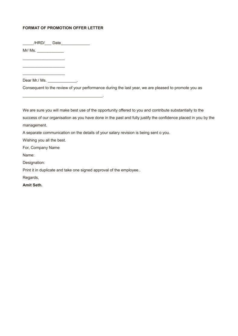 Sample Promotion Offer Letter Template