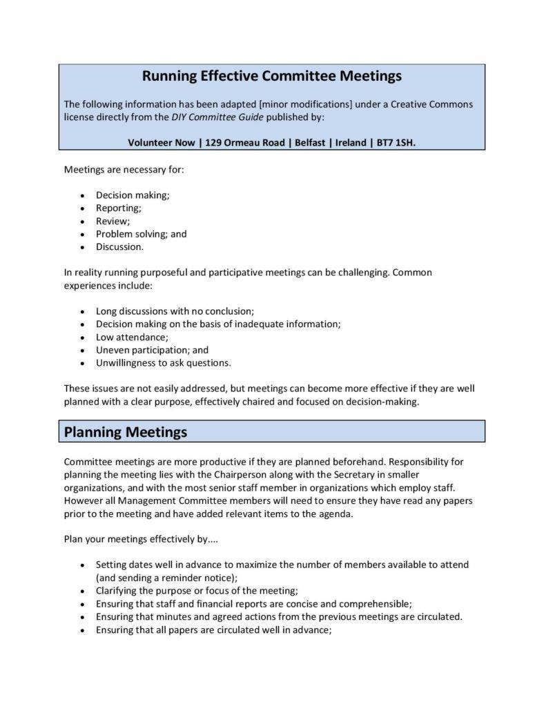 sample running effective committee meeting agenda page 001 788x1020