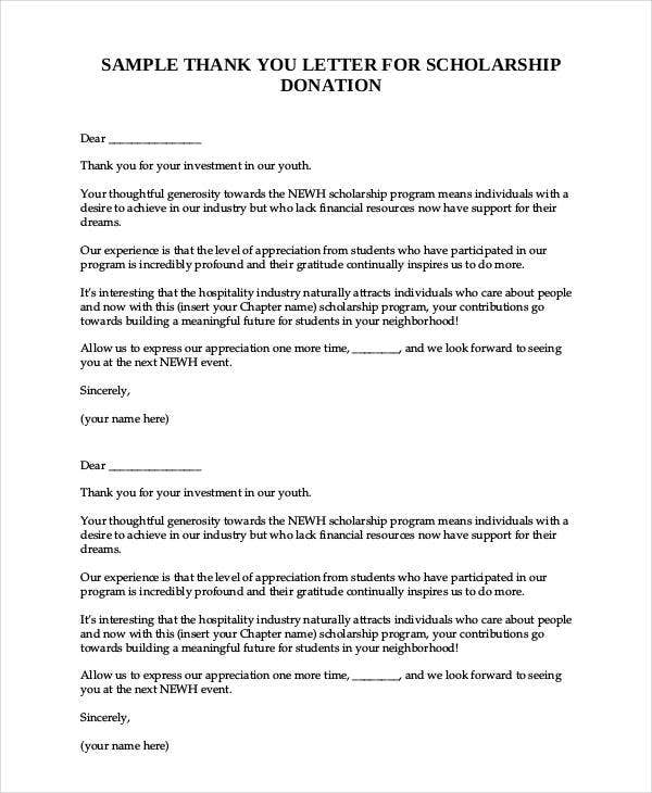 sample thank you letter for scholarship donation
