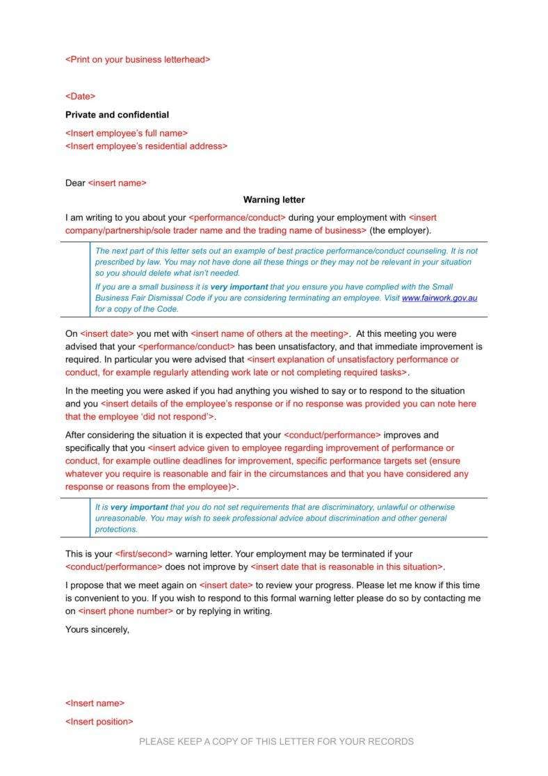Employee Warning Letters  Free Word Pdf Excel Format Download