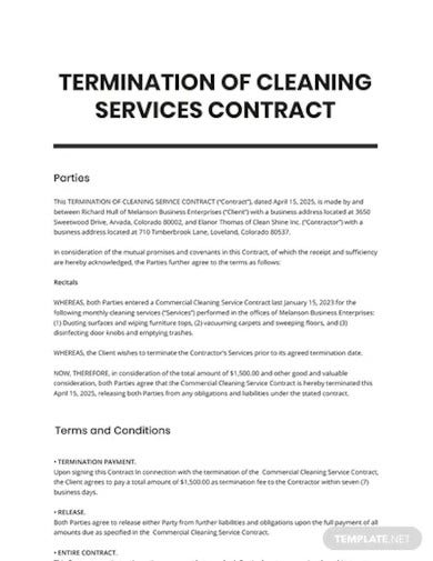 termination of cleaning services contract template