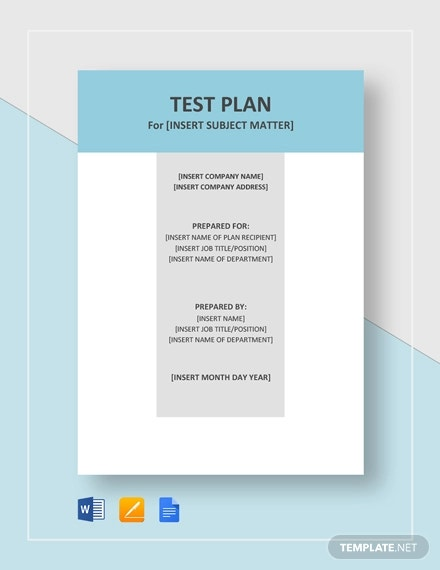 test plan template