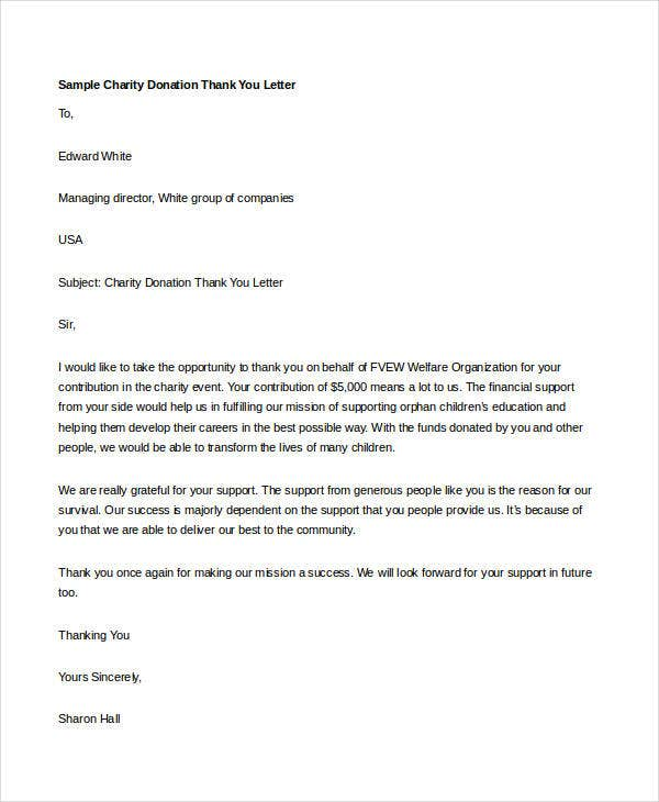 Elegant Thank You Letter For Donation To Charity Word Doc