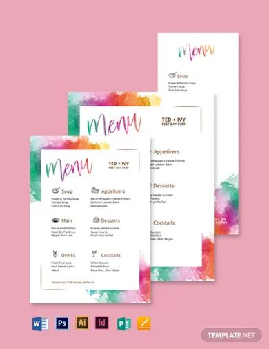 watercolor wedding menu template