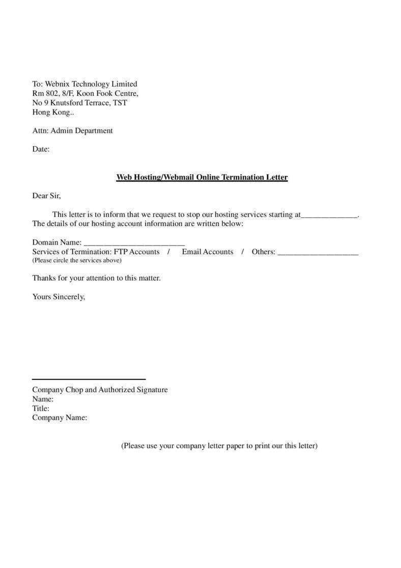 23 termination letter templates samples examples formats free web hosting service termination letter template sample in pdf spiritdancerdesigns