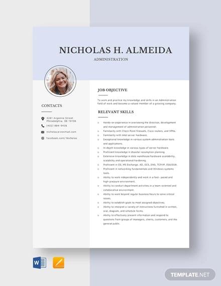 administration resume