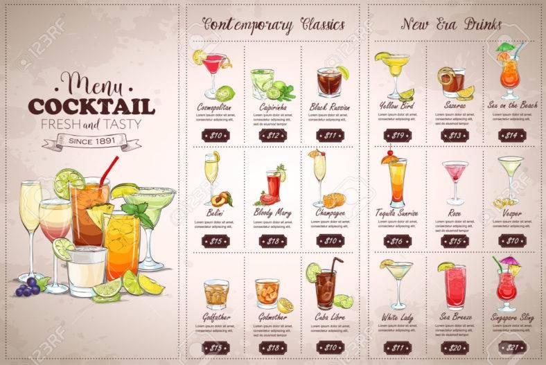 Front Drawing horisontal cocktail menu design on vintage background