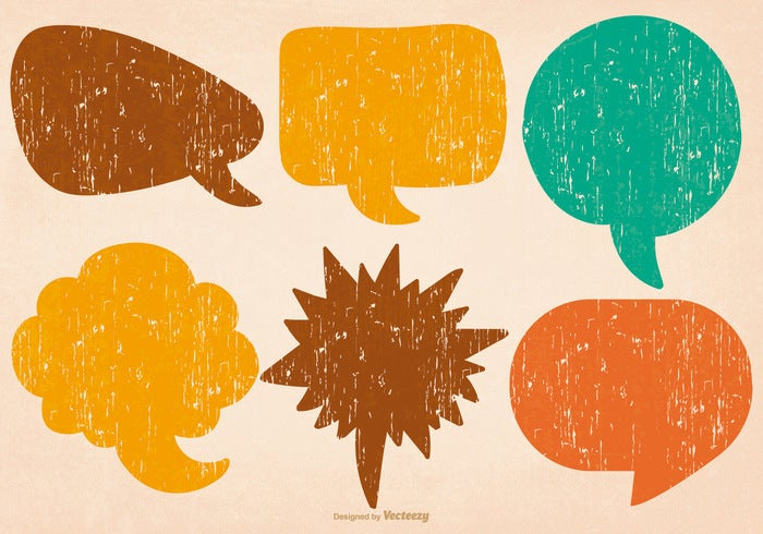 distressed colorful speech bubbles vector