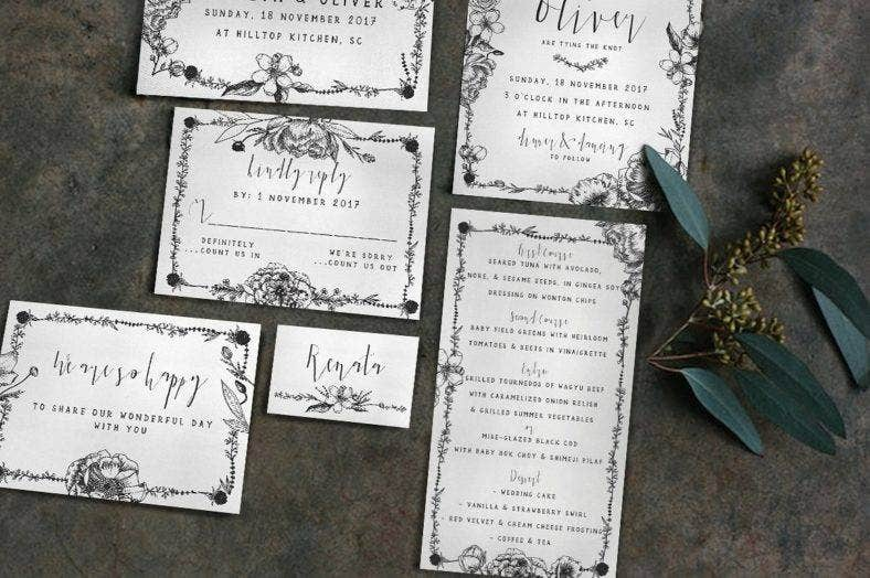 elegant flower wedding invitation 1 788x524
