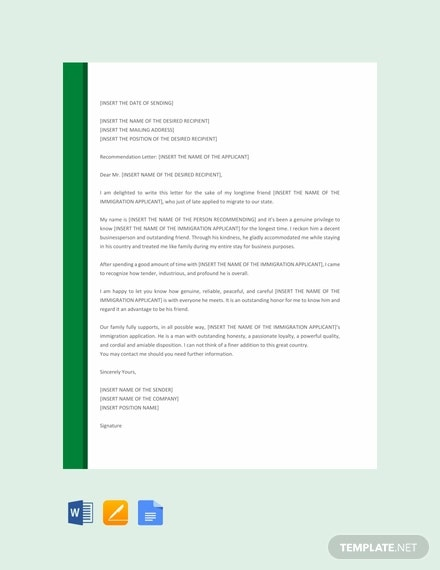 free letter of recommendation for immigration