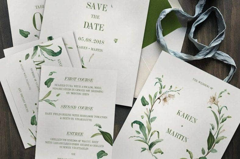 green foliage wedding invitation 2 788x524