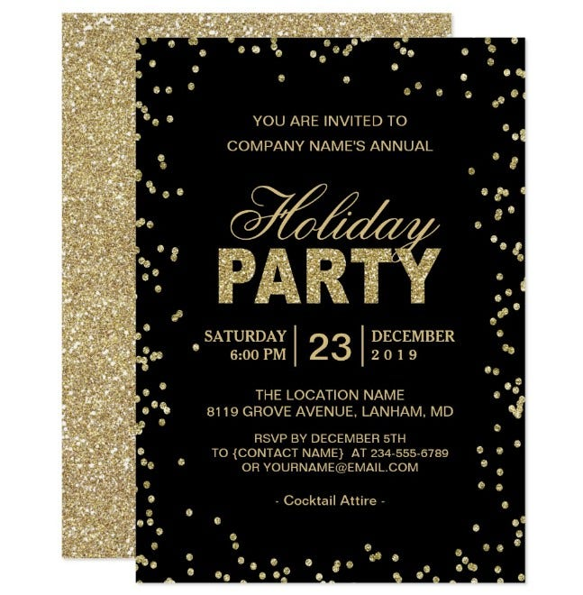Good Golden Corporate Holiday Party  Corporate Invitation Template