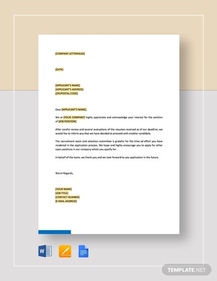 rejection letter non interviewed