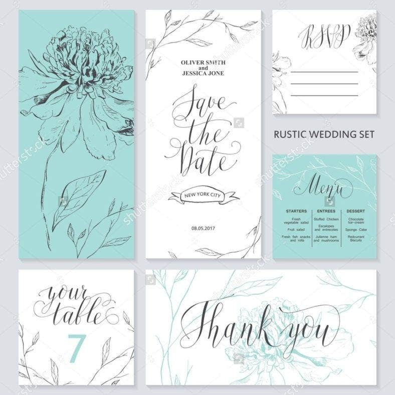 stock vector template rustic wedding invitations save the date menu thank you your table rsvp calligraphy 5775283811 788x788