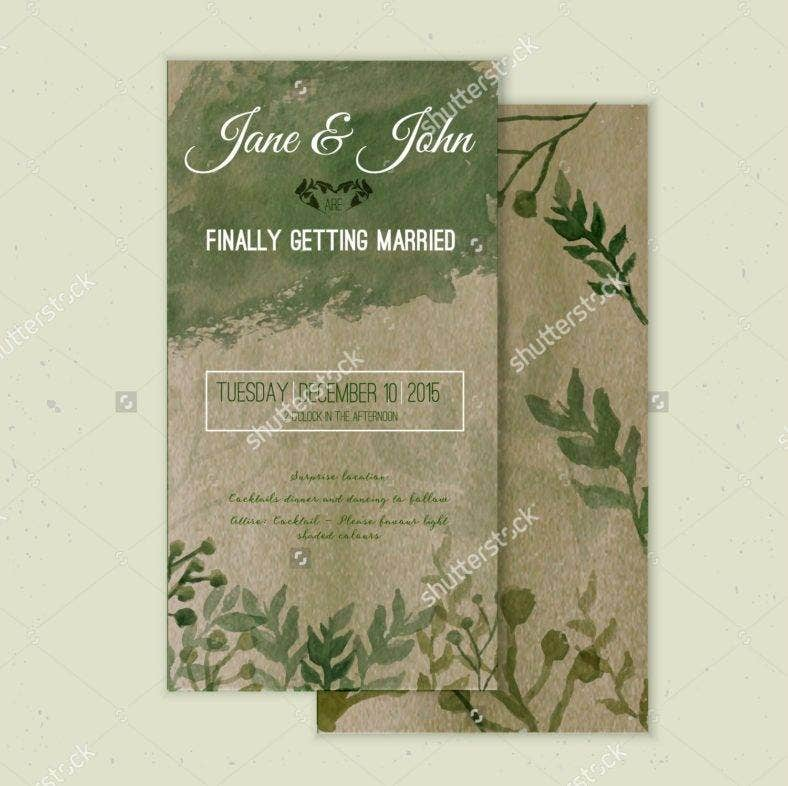 stock vector vector watercolor save the date card in rustic style with green leaves on craft paper 2878287651 788x786