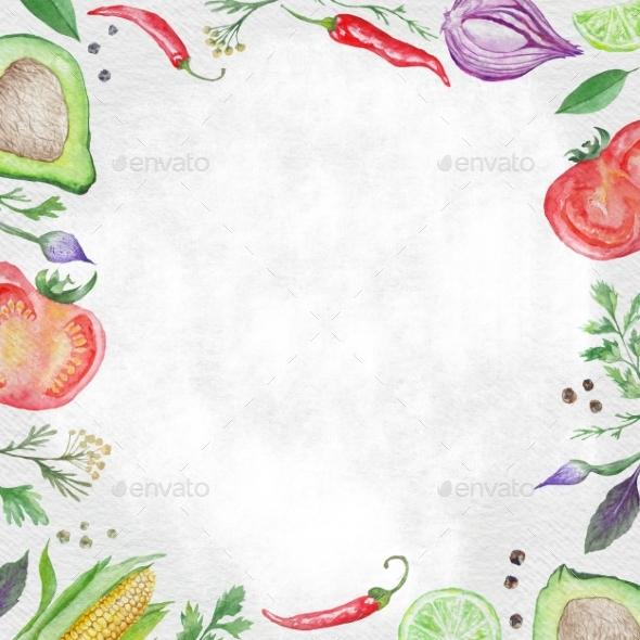 vegetarian food frame