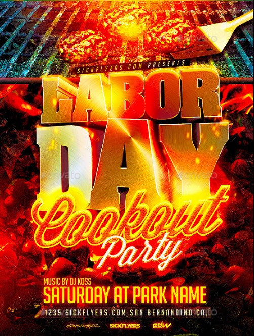 30 labor day party flyer template