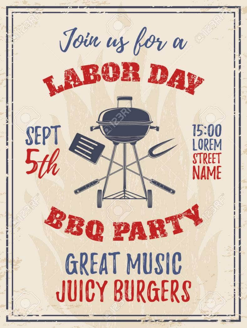Vintage Labor Day BBQ Party Background. Barbecue Poster, Brochure Or Flyer  Template. Vector