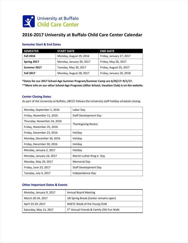 9 daycare calendar templates free samples examples formats