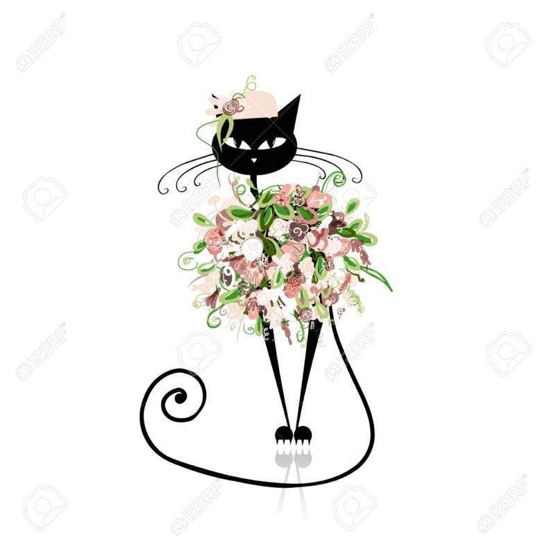 21319883 glamor cat in floral clothes for your design stock vector cat drawing silhouette 788x788