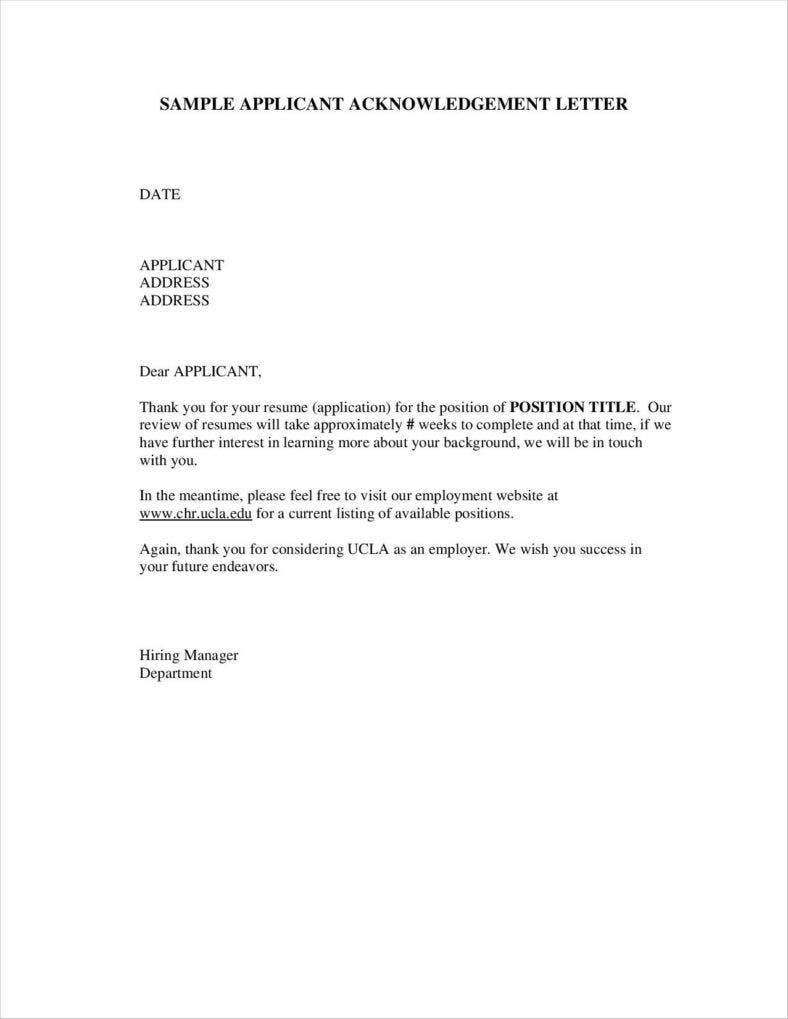 10 Job Acknowledgement Letter Templates Samples