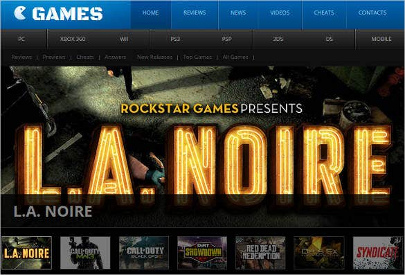 admin panel games website template
