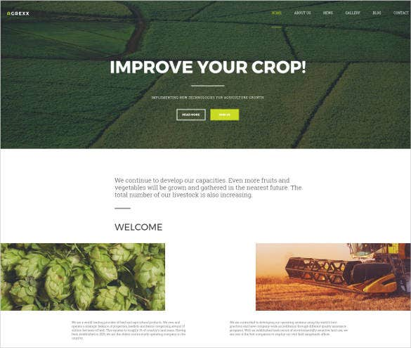 agriculture responsive website theme template