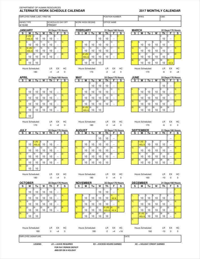 9 employee calendar templates free samples examples formats download free premium templates. Black Bedroom Furniture Sets. Home Design Ideas