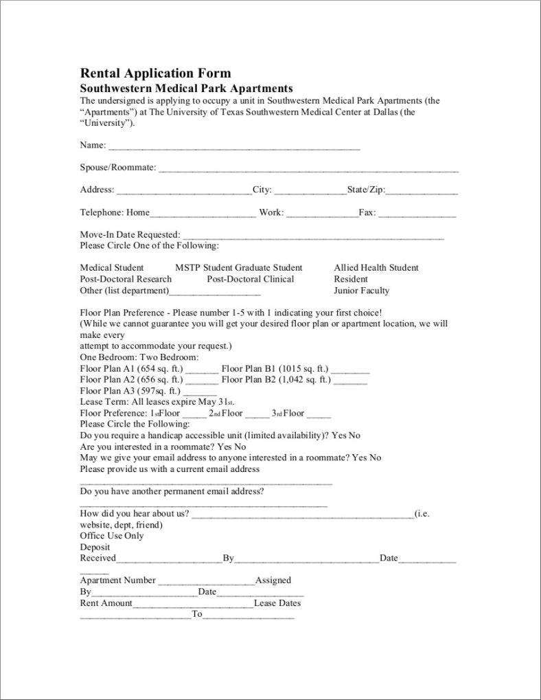 8  free lease application form samples  examples download