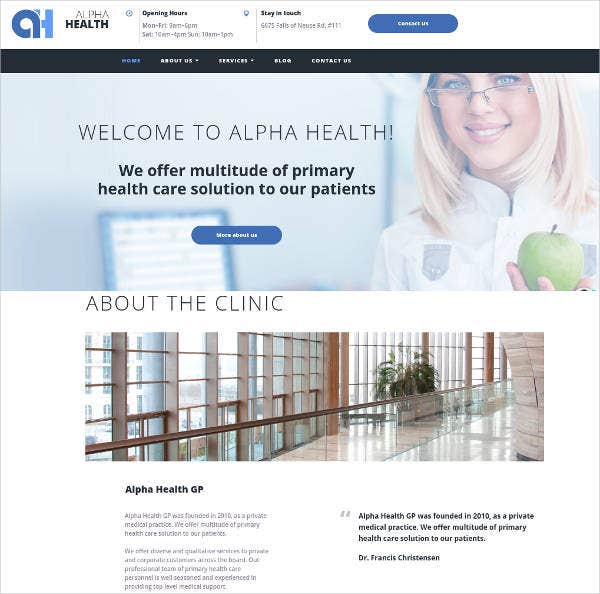 assistant medical theme website