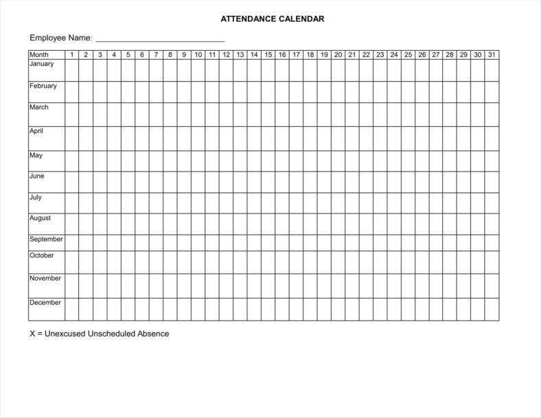 Absence Calendar Templates Free Pdf Excel Format Download