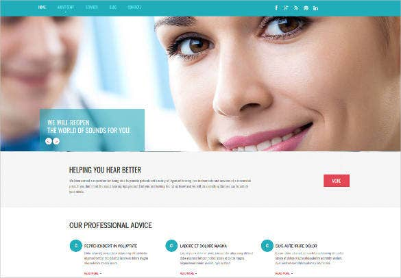 audiology doctor website template